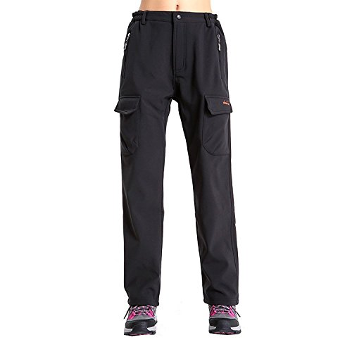 Women's Insulated Fleece Lined Soft Shell Pants Water-Repellent Wind-Resistant