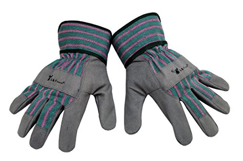Synthetic Leather Palm Gloves (G & F 5009M JustForKids Synthetic Leather Kids Garden Gloves, Kids Work Gloves, Grey, 4-6 years old)