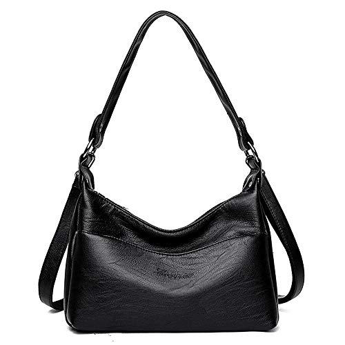 soft bag Black Bolsos practical Messenger layer multi shoulder XNQXW simple bag leather bandolera Women's CvUTfpx