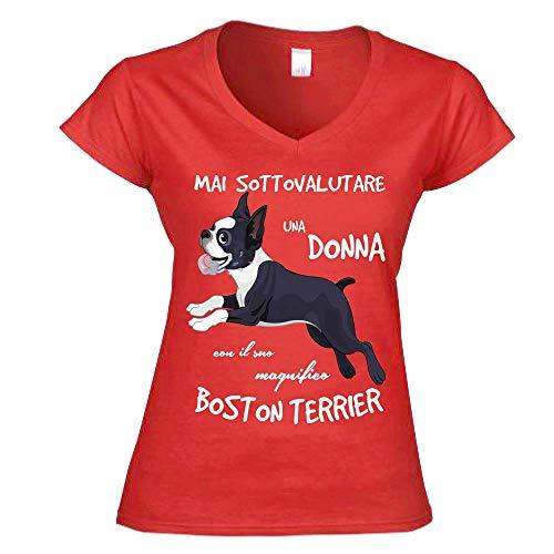 Terrier Mai Una V Sottovalutare shirt Con Rosso Boston Il A Suo T Donna WBYXPnZX
