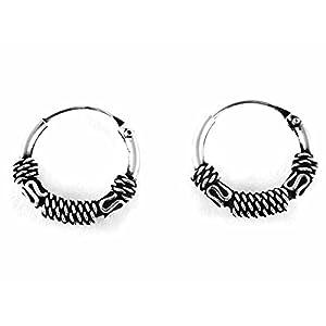 "925 Sterling Silver Tribal Bali Earring Hoops Cartilage 1/2"" (12mm) Outer Diameter"