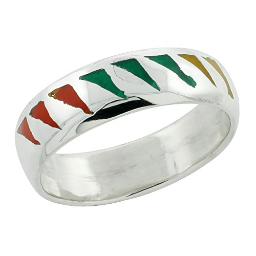 Sterling Silver Enameled Dome Ring 1/4 inch, size ()