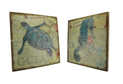 Sea-Turtle-and-Seahorse-Postcard-Theme-Burlap-Canvas-Print-Set