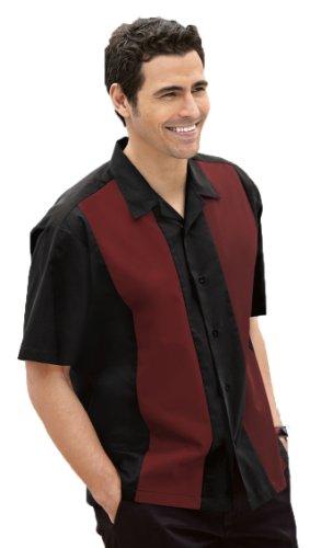 Port Authority Retro Bowling Shirt, Black/Red, 2XL