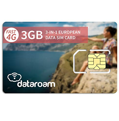 dataroam Prepaid 4G Europe Data SIM Card - Europe 3GB Bundle - 36 Countries - 3-in-1 SIM - Cellhire