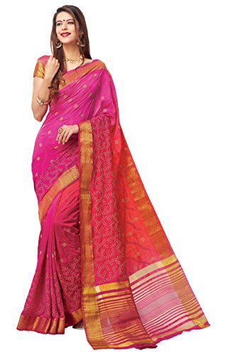 Women's Noble Magneta Fancy Silk Saree with scarf RU223