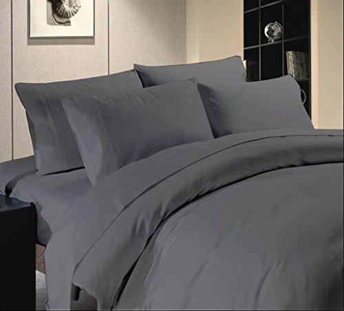 Scala Luxuries Cotton Egyptian Cotton - 500 TC Bed Sheet Set Queen Size Solid Elephant ()