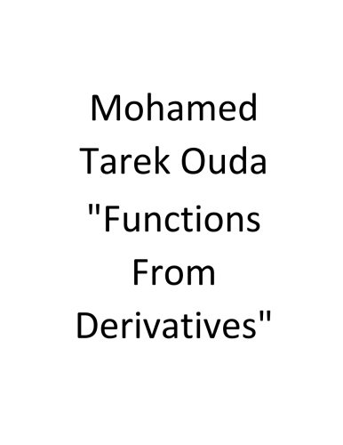Read Online Functions From Derivatives pdf epub