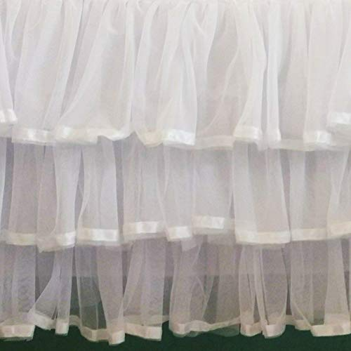 - White Tulle Tiered Satin Trim Crib Skirt 16 Inch Drop 3 Sided