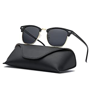 Ray Parker Classic Clubmaster Horn Rimmed Semi Rimless with Polarized Lenses for Men Sunglasses RP6623