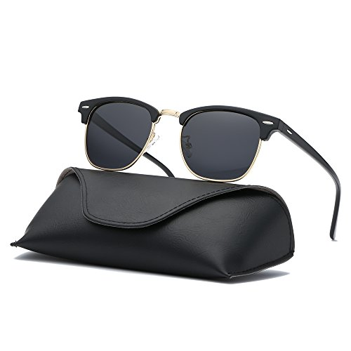 Ray Parker Classic Clubmaster Horn Rimmed Semi Rimless with Polarized Lenses for Men Sunglasses RP6623 with Black Gold Frame/Grey Lenses