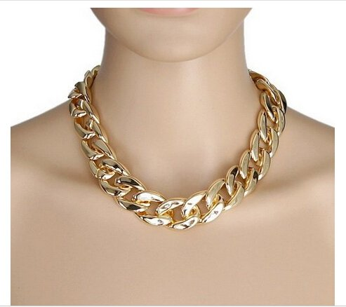 Gold Chunky Large Bling Statement Curb Chain Fashion Necklace Choker By VAGA
