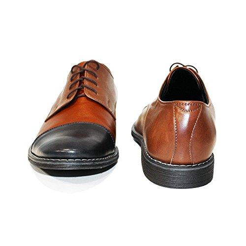 PeppeShoes Modello Canvo - Handmade Italiano da Uomo in Pelle Marrone Scarpe da Sera - Vacchetta Pelle Morbido - Allacciare