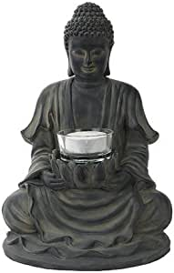 Ptc 8 5 Inch Resin Meditating Buddha With Lotus Candle Holder Figurine Home Kitchen