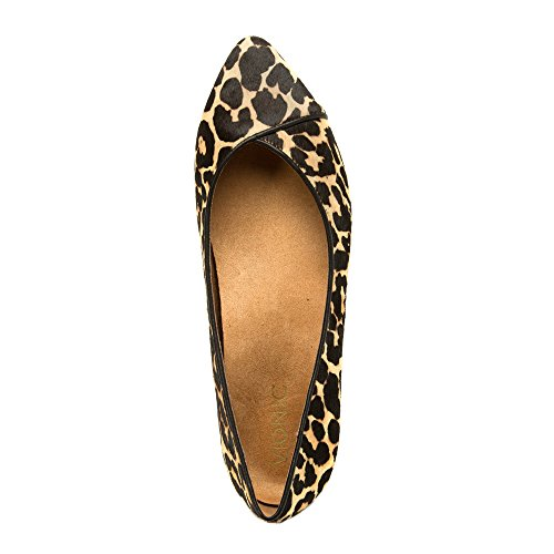Orthaheel Caballo piatto Tan donna with Leopard Technology Vionic pxFq41Z