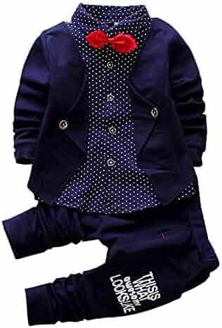 450c1eaeff1 2pcs Baby Boy Dress Clothes Toddler Outfits Infant Tuxedo Formal Suits Set  Shirt + Pants