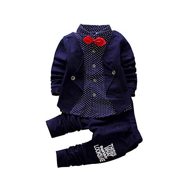 Kerrian Online Fashions 41gNyVpcSxL 2pcs Baby Boy Dress Clothes Toddler Outfits Infant Tuxedo Formal Suits Set Shirt + Pants