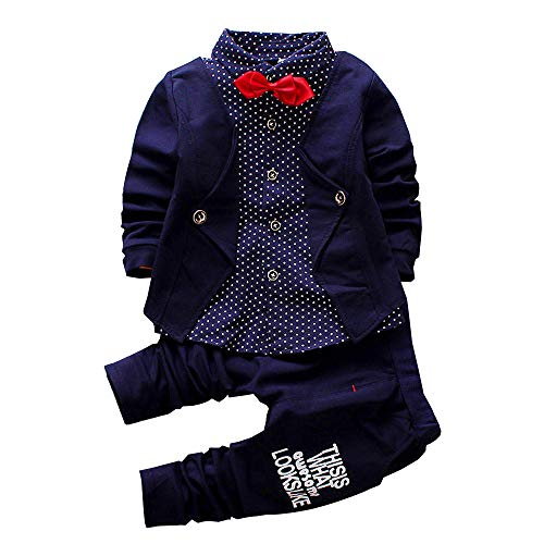 2pcs Baby Boy Dress Clothes Toddler Outfits Infant Tuxedo Formal Suits Set Shirt + Pants(Navy, 24M