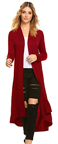 Open Duster Front - POGTMM Women's Long Open Front Drape Lightweight Maix Long Sleeve Cardigan Sweater (US S (4-6), Red)