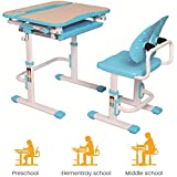 PrimeCables® Ergo Height Adjustable Children's Desk and Chair Set with Upgraded Winged Backrest Chair and Tiltable Desktop for Study, Drawing/Free Cup Holder for This Study Table (Blue)
