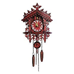 isilky Cuckoo Clock, Cuckoo Wall Clock, Roman Numerals, Black Forest, Wooden Cuckoo Clock, Black Forest, Hand-Carved Cuckoo Clock House Decoration(No Sound)