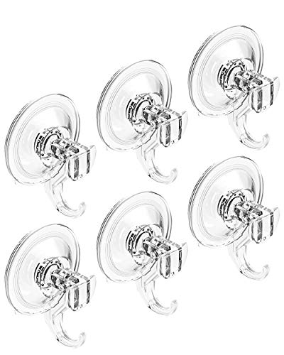 Quntis Suction Cups Hooks- Heavy Duty Suction Cup Hooks- Waterproof Shower Hooks 6 Pack ...