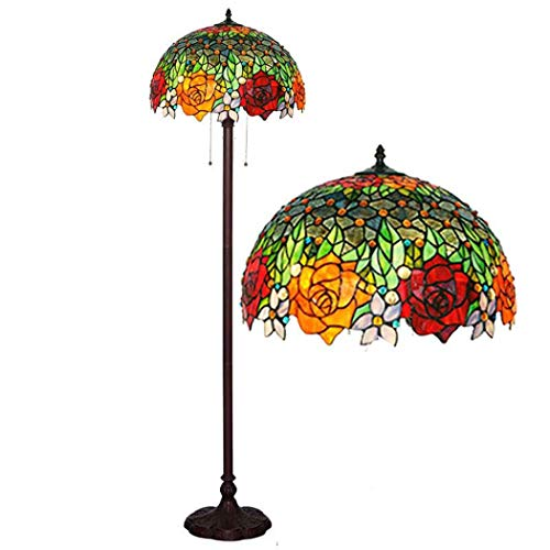 DSHBB Floor Lights, 16 inch Little Rose Tiffany Style Floor lamp with Stained Glass lampshade, Contemporary Bright Reading Lamp for Living Room, Office, E27 40W (Light Glass Rose Pendant)