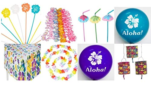 62 Pc - Luau Tropical Party Decorations Kit -Includes 12 Flower Leis, 12 hibiscus Straws, 12 hibiscus Balloons, 12 hibiscus Picks, Hibiscus Table Cover, 12 Hibiscus Lanterns and 1 Flower Garland -