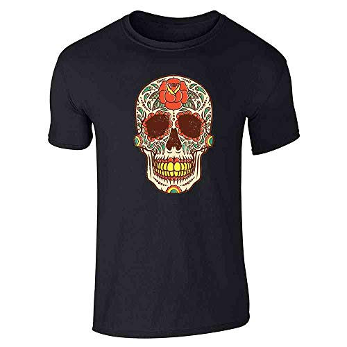 Rose Sugar Skull Halloween Costume Vintage Horror Black L Short Sleeve T-Shirt