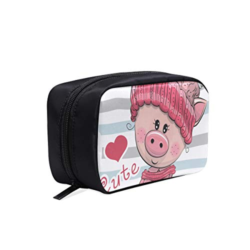 - Cute Cartoon Piggy In Love Portable Travel Makeup Cosmetic Bags Organizer Multifunction Case Small Toiletry Bags For Women And Men Brushes Case