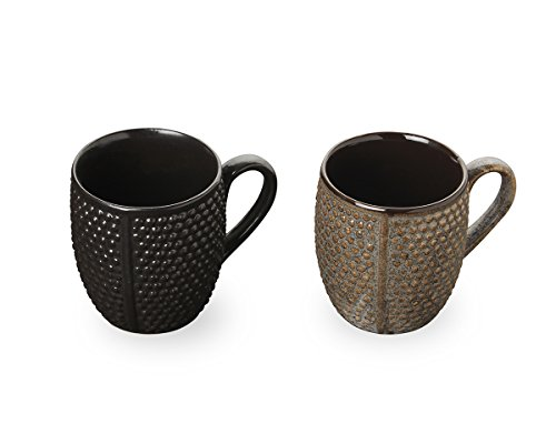 Store Indya, Set of 2 Handcrafted Ceramic Tea Coffee Cup Mug Diamond Design Pottery Cup Kitchen Dining Serve ware Accessories (Black and Grey)