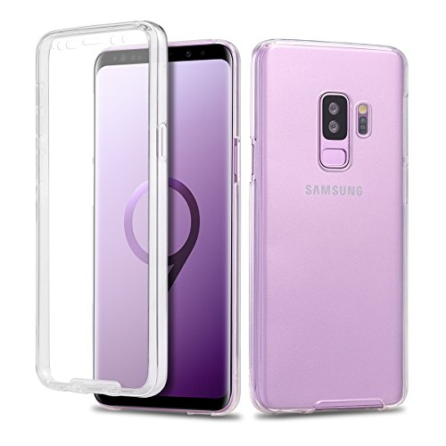 Casetego Compatible Galaxy S9 Plus Case,360 Full Body Two Piece Slim Crystal Transparent Case with Built-in Screen Protector for Samsung Galaxy S9 Plus-Crystal Clear
