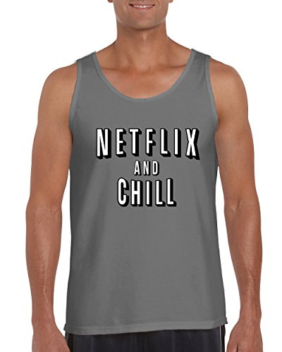 Netflix Chill Funny T.V. Series Movie Men's Tank Top Shirt Men(Charcoal,Large) ()