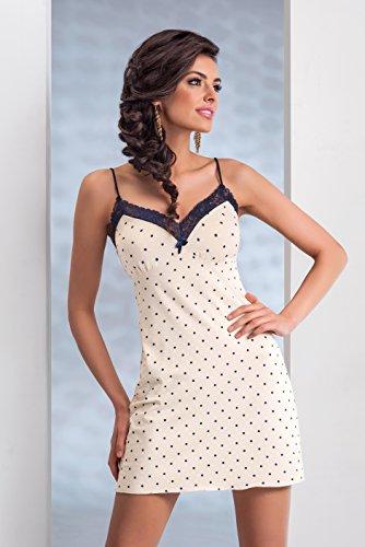 regalo di incartata in Donna confezione Meravigliosa a notte Écru fantastica prima camicia da negligé pois qualità una qHqCPZ