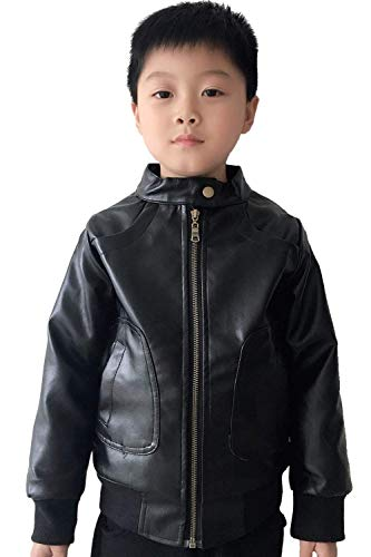 Boy's Trendy Stand Collar PU Leather Moto Jacket Leather Coat -