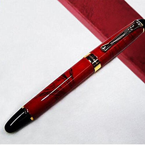 Jinhao X450 Fountain Pen Marble Pattern Gold Trim M Nib (Coral Red)