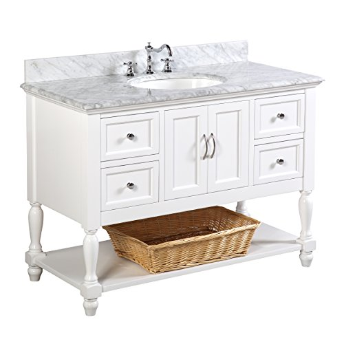 Beverly 48-inch Bathroom Vanity (Carrara/White): Includes Authentic Italian Carrara Marble Countertop, White Cabinet with Soft Close Drawers, and White Ceramic Sink