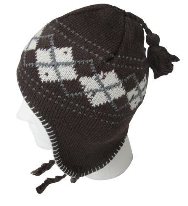 EarFlap Beanie Hat, Acrylic knit with soft warmlining, Men Size, 4 Colors included, Argyle Design