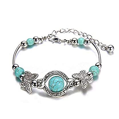 WEILYDF Turquoise Bracelet Classic Luxury Women Summer Unique Design Beaded Imitation Gemstone Butterfly Bracelet Jewelry