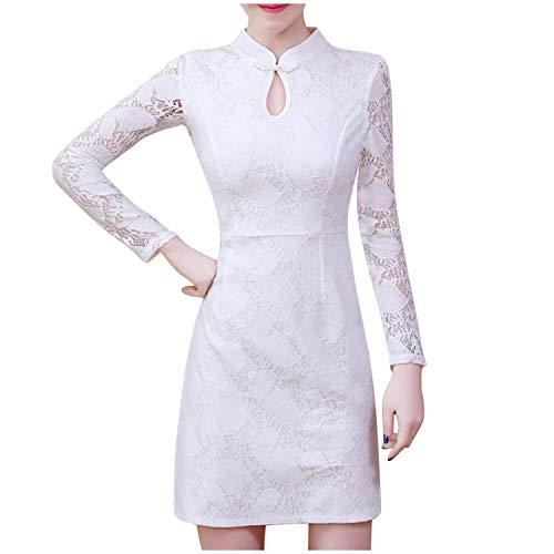 Visible Wind Dress for Women Fashion Lady Elegant Autumn Winter Ladies Cheongsam Style Long Sleeve,White,XXL