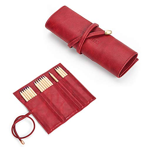 SOSATCHEL PU Leather Rollup Pen Bag Pencil Case Storage Pouch Organizer, Red