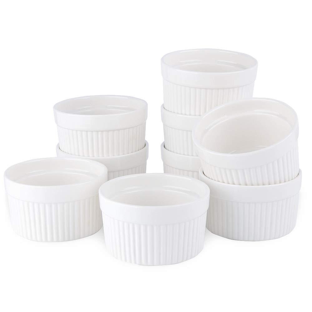 SZUAH Porcelain Ramekins, 4oz Baking Ramekins for Souffle, Creme Brulee, Appetizer, Custard, Pudding and Ice Cream, Set of 9.