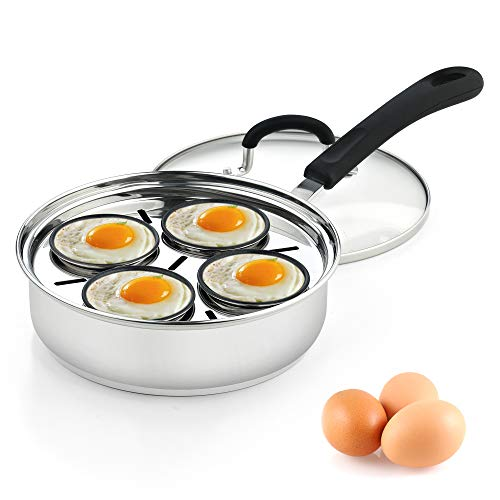 Cook N Home 02625 4 Cup Stainless Steel Egg Poacher Pan 8