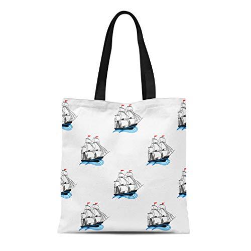Semtomn Cotton Canvas Tote Bag Sailing Ships White and Red Sails Cartoon on Sailships Reusable Shoulder Grocery Shopping Bags Handbag Printed ()