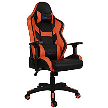 [Upgraded Version] Kinsal Large Size Big and Tall Racing Chair, Executive Gaming Chair High-back Ergonomic Chair Swivel Chair, Leather Office Chair Including Headrest and Lumbar Support (Orange)