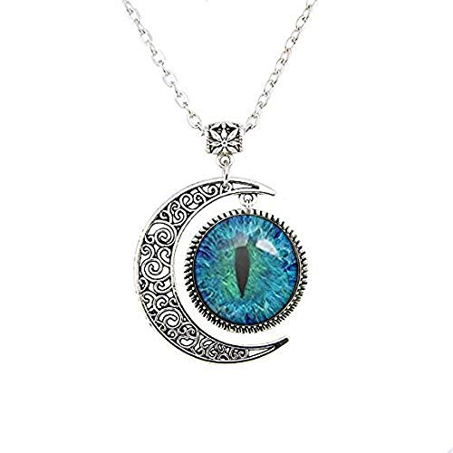 Moon Necklace Blue Cat Eye Pendant Green Cat Eye Pendant Wolf Eye Necklace Pendant Eye Jewelry Art Gifts ()