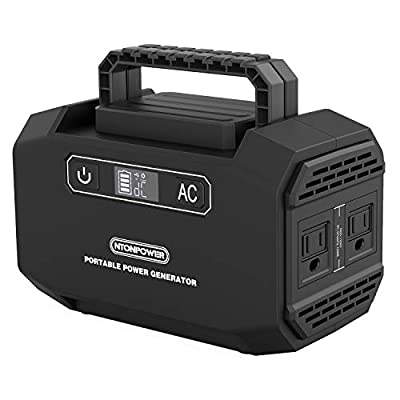 NTONPOWER Portable Power Station - 167Wh Solar Generator, Lithium Battery Backup Power Supply, 110V/150W (Peak 250W) Dual AC Outlets, 3 DC Ports, 2 USB Ports, for Camping, Fishing, CPAP, Emergency