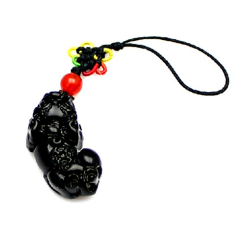 Handmade Obsidian Feng Shui Pi Yao Hanging for Wealth ( with a Betterdecor Pounch)