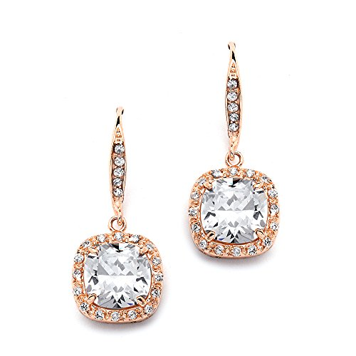 Mariell 14K Rose Gold Plated Wedding Bridal Earrings for Brides with Pave Cushion CZ Dangles