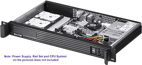 ITX-122 9.84 Deep NO Power Supply, No System and Case Only Rackmount Chassis Mini ITX Customize 1U IO Shield 3.5 Open or 2 x 2.5 HDD Bay PLINKUSA RACKBUY 1U